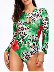 Backless Foliage Print Long Sleeve Swimsuit