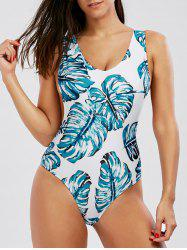Leaves Print V Neck One Piece Swimwear