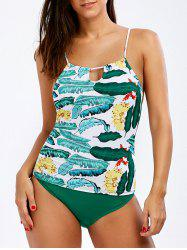 High Waist Cami Strap Tropical Tankini Set