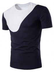 Short Sleeve Color Block Panel Curve Bottom T-Shirt
