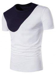 Short Sleeve Color Block Panel Curve Bottom T-Shirt - WHITE