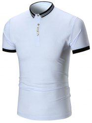 Two Tone Half Button Polo Shirt