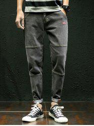 Zipper Fly Panel Tapered Jeans