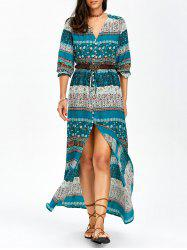 Tiny Floral Button Up Drawstring Maxi Dress - LAKE BLUE