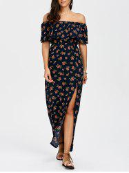 Off The Shoulder Flounce Split Floral Dres - Multicolore