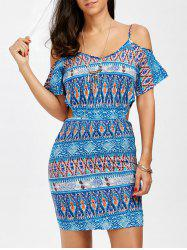 Cold Shoulder Printed Cut Out Mini Dress - COLORMIX
