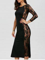 One Sleeve Floral Lace Panel Dress
