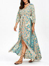 Bohemian Print Empire Waist Chiffon Maxi Dress with Sleeves - MULTI