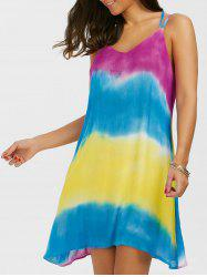 Tie Dye Slip Beach Casual Flowy Dress - COLORMIX