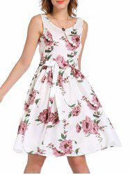Bowknot Embellished Floral Sleeveless Swing Dress