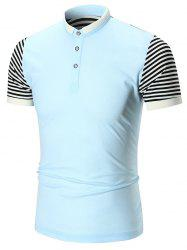 Half Button Striped Insert Polo Shirt