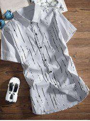 Paint Lines Printed Turndown Collar Shirt