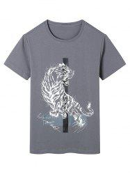 Tiger Print Crew Neck T-Shirt