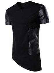 Oblique Bottom PU Leather Panel Longline T-Shirt