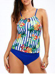 Cross Back Pineapple Tropical Tankini Set - BLUE