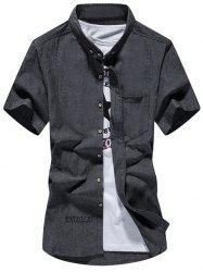 Letter Embroidered Pocket Design Button Down Shirt