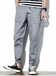 Big Pockets Drawstring Waist Tapered Pants