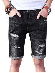 Zipper Fly Rip Denim Shorts