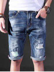 Straight Leg Ripped Denim Shorts