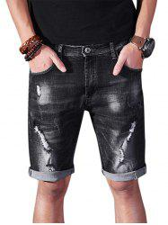 Slim Fit Ripped Denim Shorts