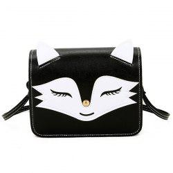 PU Leather Fox Pattern Crossbody Bag - BLACK