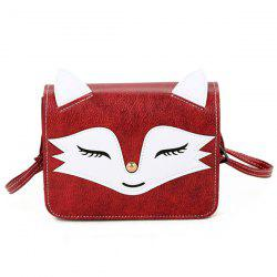 PU Leather Fox Pattern Crossbody Bag - RED
