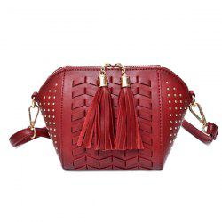 Rivet Tassel Weaving Crossbody Bag