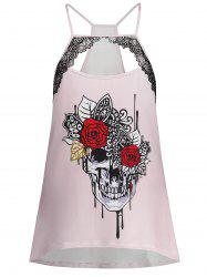Skull Print Cut Out Plus Size Cami Top