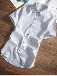 Classic Short Sleeves Button Up Shirt - WHITE