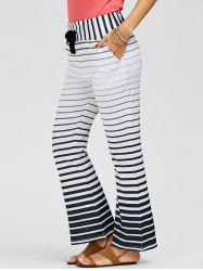 Striped Wide Leg Yoga Pants - WHITE M