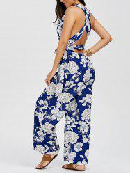 Floral Criss Cross Wide Leg Jumpsuit