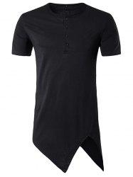 Asymmetric Cutting and Button Design Longline T-Shirt