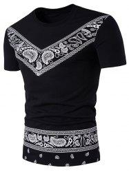 Short Sleeve Color Block Tribal Paisley Print T-Shirt