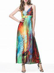 Feather Print Empire Waist Slip Maxi Beach Dress