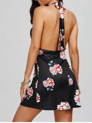 Mini Floral Halter Backless Skater Dress