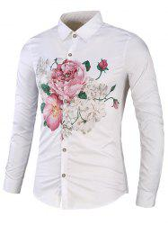 Color Block Floral Long Sleeve Shirt