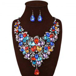 Faux Crystal Floral Statement Jewelry Set -