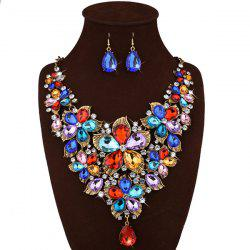 Faux Crystal Floral Statement Jewelry Set - GOLDEN