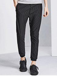 Vertical Stripe Jogger Pants - BLACK