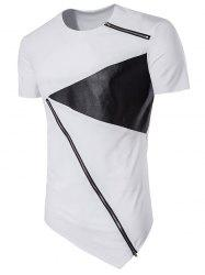Zippers PU Leather Panel Asymmetrical T-shirt