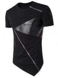 Zippers PU Leather Panel Irregular Bottom Longline T-Shirt - BLACK
