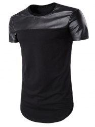 Curve Bottom PU Leather Panel Longline T-Shirt - BLACK