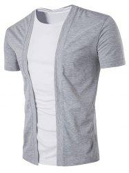 Collarless Short Sleeve No Placket Cotton Blends T-Shirt