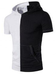 Color Block Panel Hooded Pocket T-Shirt