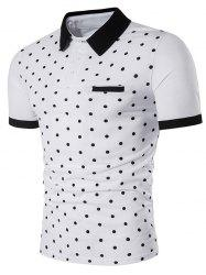 Polka Dot Print Edging Short Sleeve Polo T-Shirt - Blanc