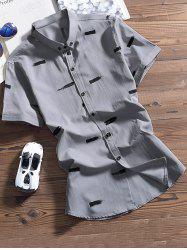 Ink Printed Turndown Collar Button Down Shirt