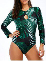 Backless Unlined Tropical One-Piece Swimsuit