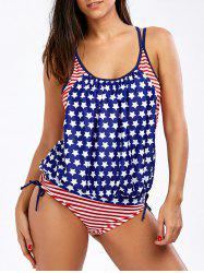 Strappy American Flag Patriotic Tankini Set