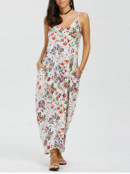 Spaghetti Strap Floral Summer Maxi Dress - FLORAL