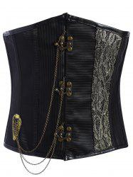 Metal Chain Lace Up Underbust Corset
